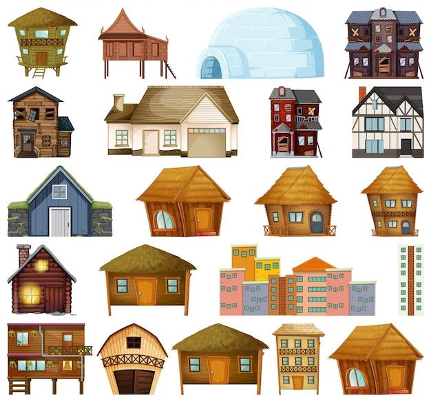 Set van verschillende huis