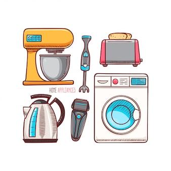 Set van verschillende huishoudelijke apparaten.