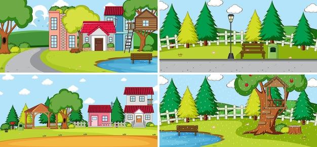 Set van verschillende huizen in cartoon-stijl met natuurtaferelen