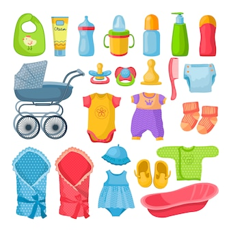 Set van verschillende hulpmiddelen voor pasgeboren baby