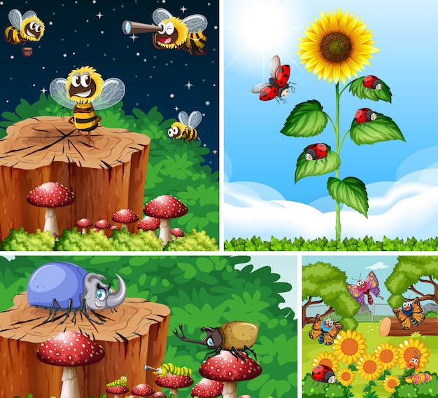 Set van verschillende insecten die in de tuinillustratie leven