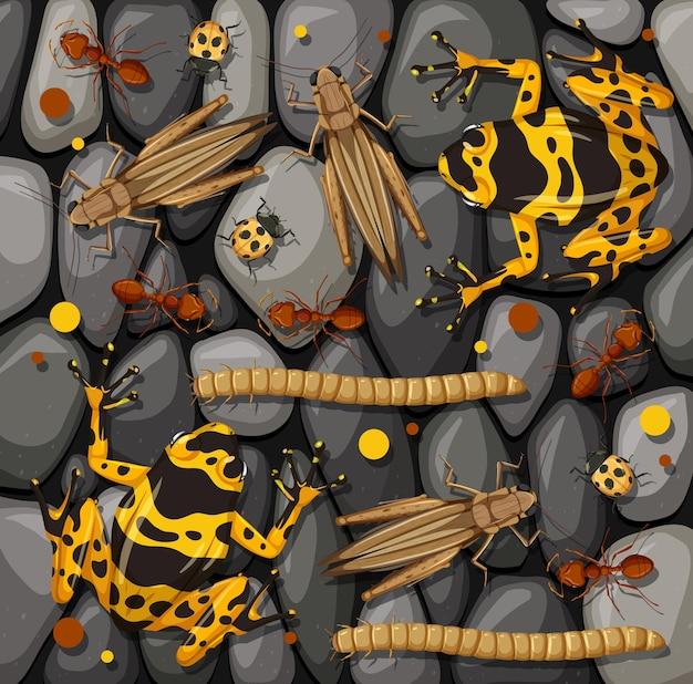 Set van verschillende insecten geïsoleerd op stenen textuur