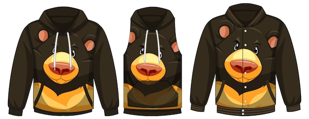 Set van verschillende jassen met zwarte beer sjabloon