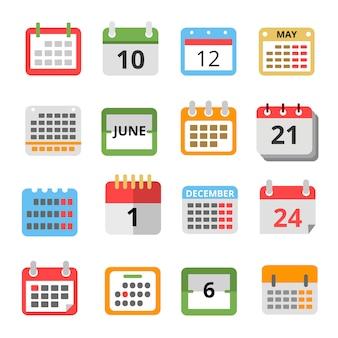 Set van verschillende kalenders in vlakke stijl.