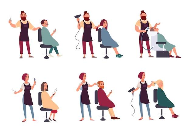Set van verschillende kapper. trendy man en vrouw in kapperszaak, kapsalon. services maakt styling, droogt, wast, knipt haar en verzamelt snor. vectorillustratie in vlakke stijl.