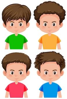 Set van verschillende kapsel van de jongen