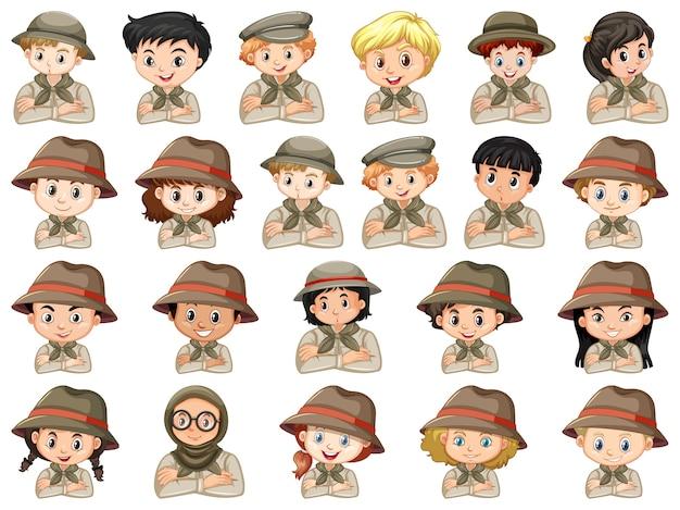 Set van verschillende karakters van jongens en meisjes scout kostuum op een witte achtergrond