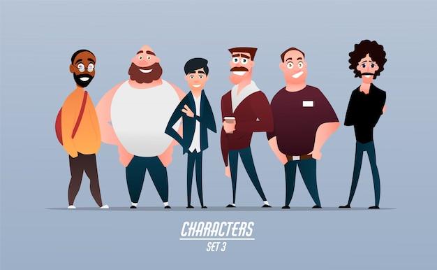 Set van verschillende karakters van ondernemers, zakenlieden en werknemers van bedrijven. tekens in cartoon-stijl.