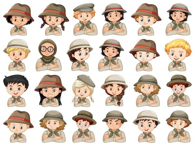 Set van verschillende karakters van scout kostuum voor jongens en meisjes