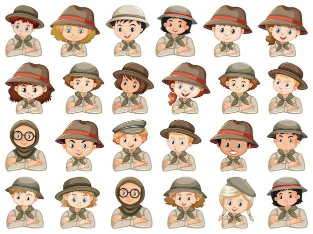 Set van verschillende karakters van scoutkostuum voor jongens en meisjes