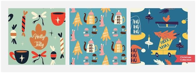 Set van verschillende kerst naadloze patronen eindeloze textuur voor wallpaper webpagina-achtergrond