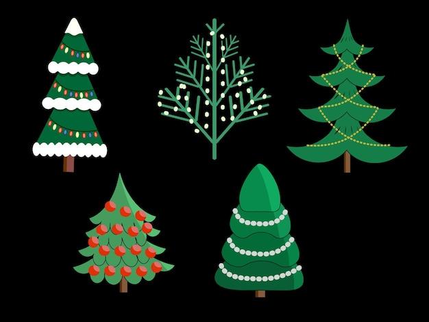 Set van verschillende kerstbomen met slingers