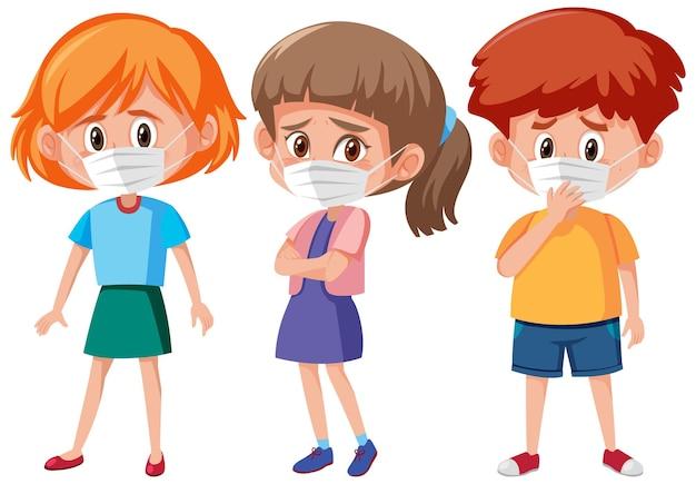 Set van verschillende kinderen die masker stripfiguur dragen