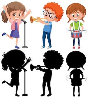 Set van verschillende kinderen die muziekinstrumenten spelen met silhouette
