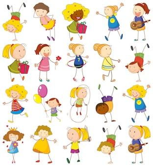 Set van verschillende kinderen in doodle-stijl