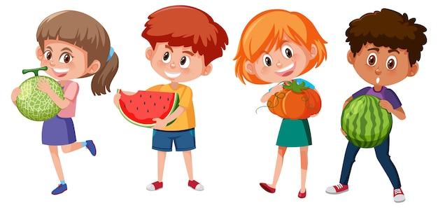 Set van verschillende kinderen met fruit geïsoleerd op wit