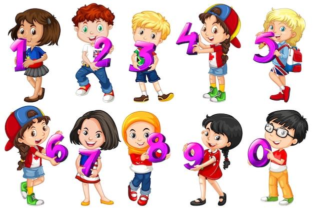 Set van verschillende kinderen met wiskundegetal