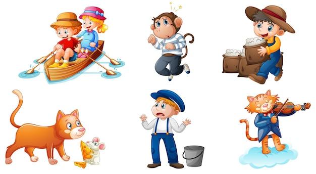 Set van verschillende kinderrijm karakter geïsoleerd op een witte achtergrond