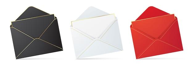 Set van verschillende kleur enveloppen geïsoleerd op de achtergrond