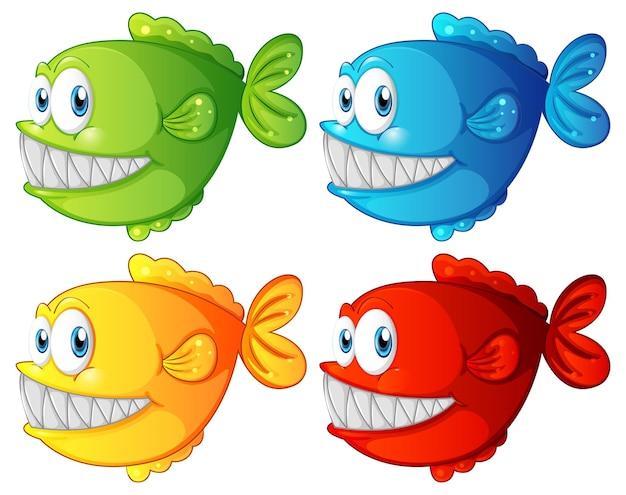 Set van verschillende kleur exotische vissen stripfiguur op witte achtergrond