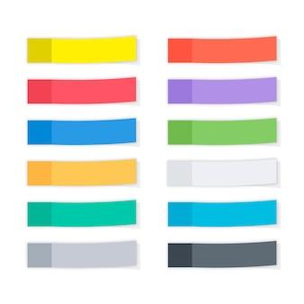 Set van verschillende kleur sjabloon plaknotities, herinneringen, bladwijzers met schaduwen. papieren plakband met schaduw. veelkleurig papieren plakband, rechthoekige lege kantoorspaties, herinneringslijsten.