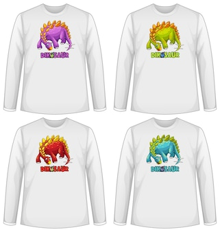 Set van verschillende kleuren dinosaurusscherm op t-shirt met lange mouwen