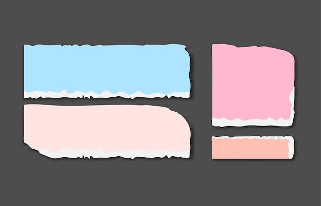 Set van verschillende kleuren gescheurde notitieblaadjes met plakband.