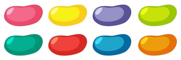 Set van verschillende kleuren jelly beans op witte achtergrond