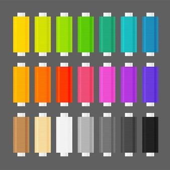 Set van verschillende kleuren spoelen van draad voor naaien en handwerken uitrusting voor kleermakerij en kledingreparatie