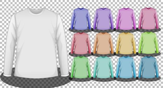 Set van verschillende kleuren t-shirts met lange mouwen