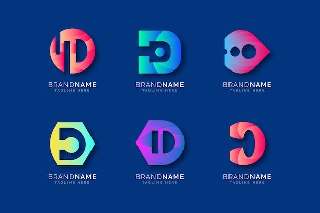 Set van verschillende kleurovergang d-logo