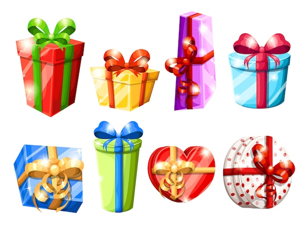 Set van verschillende kleurrijke geschenkdozen met bogen illustratie op witte achtergrond webpagina en mobiele app