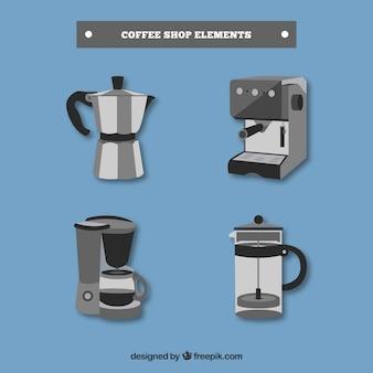 Set van verschillende koffiezetapparaten