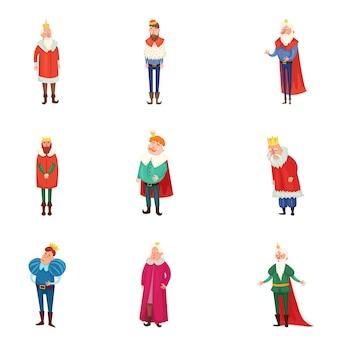 Set van verschillende koninklijke koningen in kleurrijke kleding en gouden kroon