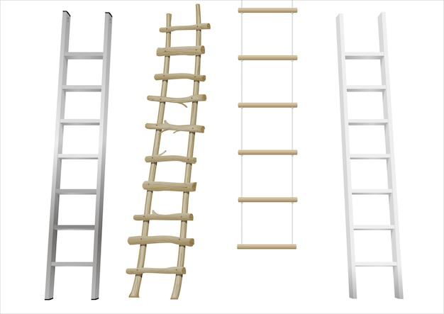 Set van verschillende ladders