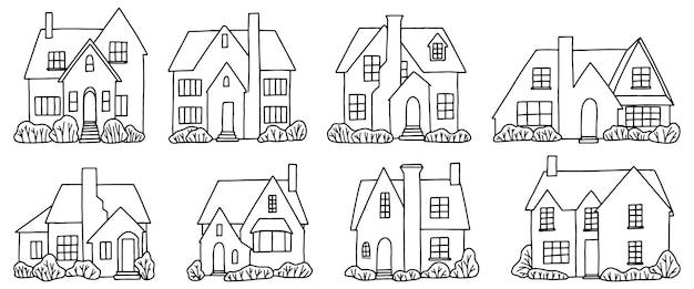 Set van verschillende landhuizen, villa's. collectie van hand getrokken vectorillustratie in minimalistische stijl. contourtekeningen geïsoleerd op een witte achtergrond.