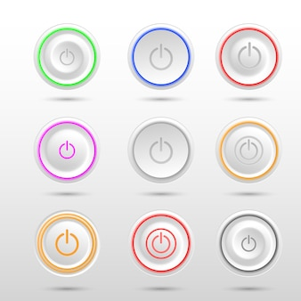 Set van verschillende led power knoppen op witte achtergrond.