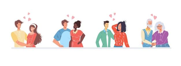 Set van verschillende leeftijdsrassen verliefde mensen