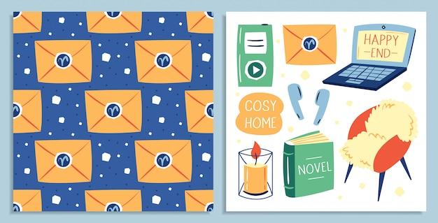 Set van verschillende leuke lifestyle items. mijn huis mijn regels. gezellige woning. laptop, stoel, koptelefoon, boek, brief, kaars, muziekspeler. kaart. plat kleurrijke illustratie