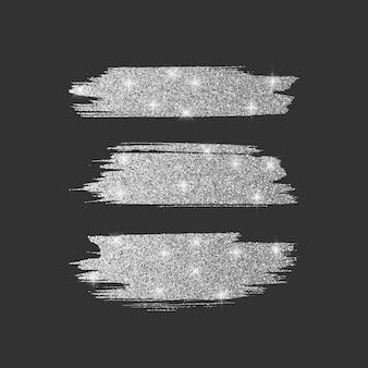 Set van verschillende lijnborstels. glitter penseel collectie met zilveren glanzende textuur, illustratie