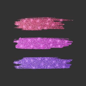 Set van verschillende lijnborstels. glitter penseel collectie van rode, roze en paarse kleuren, illustratie