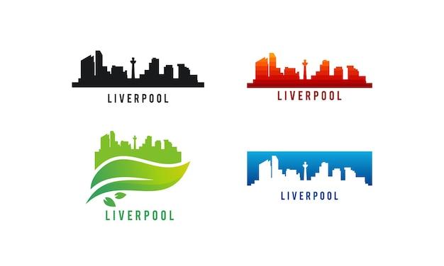 Set van verschillende liverpool city skyline silhouet vectorillustratie