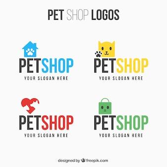 Set van verschillende logo's voor dierenwinkel