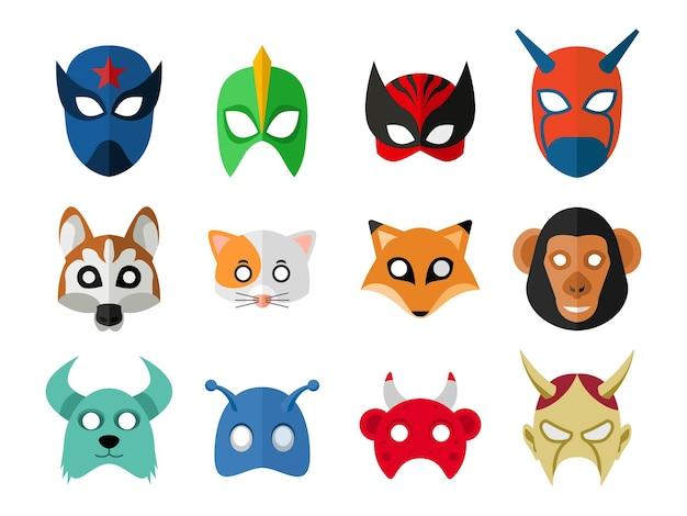 Set van verschillende maskers met verschillende thema's
