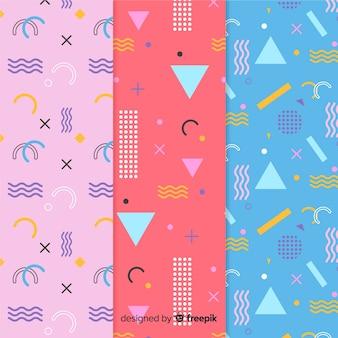 Set van verschillende memphis-patronen