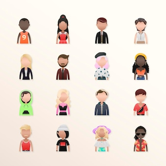 Set van verschillende mensen avatars