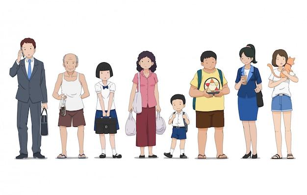 Set van verschillende mensen in verschillende poses staande op straat.