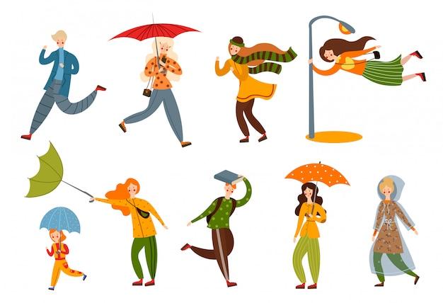 Set van verschillende mensen op een regenachtige en winderige dag. illustratie in platte cartoon stijl.