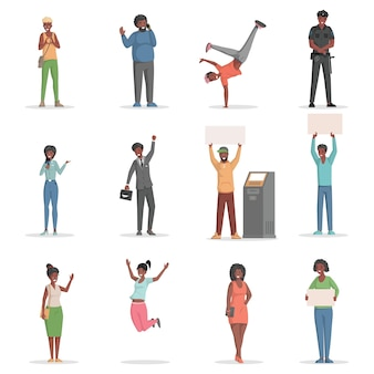 Set van verschillende mensen springen met borden pratende telefoon vector phone
