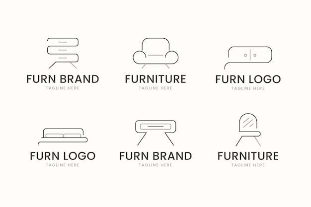 Set van verschillende meubels logo's